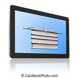 Generic tablet PC with books as a symbol of digital library and e-reader