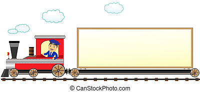 train with conductor and space for - cartoon isolated train...
