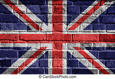 English flag, Great Britain grunge, wall - British flag on...