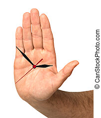 palm as a clock face showing time to stop