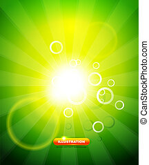 Greeen shiny vector background - Green shiny abstract light...