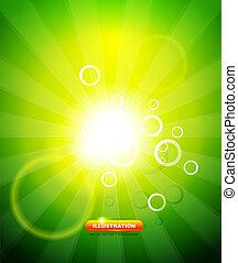 Greeen shiny vector background - Green shiny abstract light...