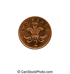 2 Pence Sterling (2p) - A two pence British coin. (2p...