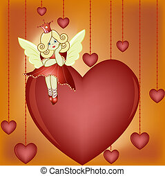 The small fairy sits on heart