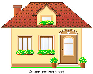 house with dormer and flower pot - isolated house with...
