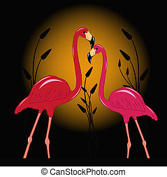 Two enamoured flamingos - Two enamoured pink flamingos...