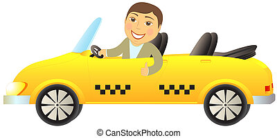 taxi cabriolet with man showing thu