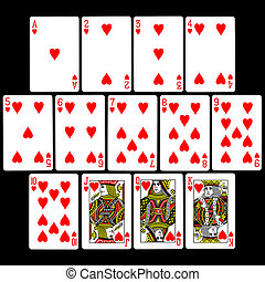 Playing Cards (Hearts) - The set of 13 'Hearts' playing...