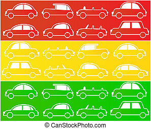 cars in colors of traffic lights