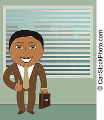 afroamerican businessman in office - smile afroamerican...