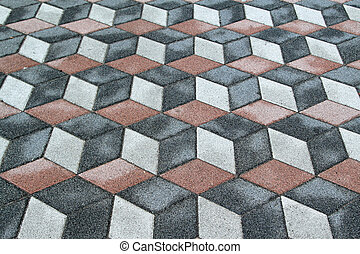 3d floor illusion - Old tiles with 3d optical illusion
