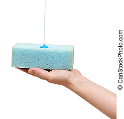 hand holding sponge with liquid soap isolated on white background.