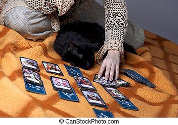 menina, ler, Cartões