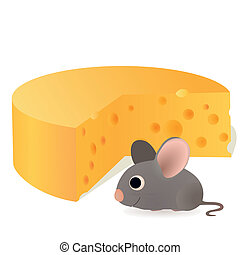 Funny mouse near the cheese