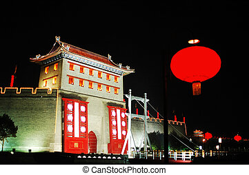 Night scenes of the ancient city wall of Xian China - Night...