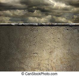 orageux, mur, sur, ciel, béton, fond