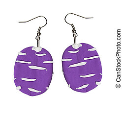 Earrings lilac color of the plastic clay