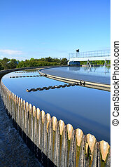 moderno, urbano, wastewater, tratamiento, planta