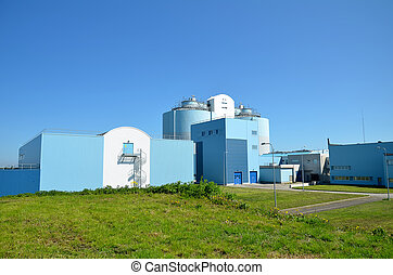 Modern urban wastewater treatment factory.