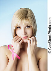 Girl with a pink ribbon - Image of a girl with a pink ribbon...