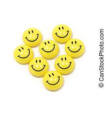 Coração, feito, amarela, smileys