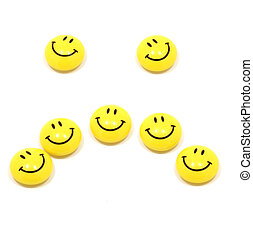 Sad face up of yellow smileys - Picture of sad face up of...