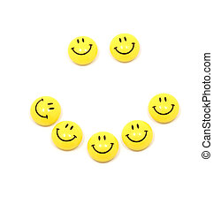 Happy face up of yellow smileys - Picture of happy face up...