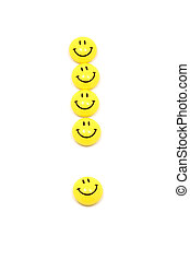 Exclamation mark made of yellow smileys - Image of...