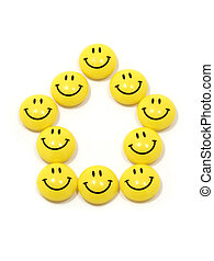 Symbol of a house made of yellow smileys - Image of the...