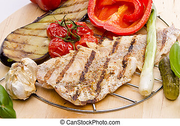 Vegetables with grilled salmon