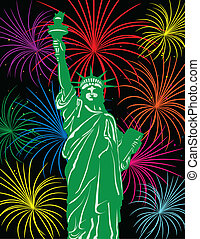 Statue of Liberty with Fireworks Illustration - Statue of...
