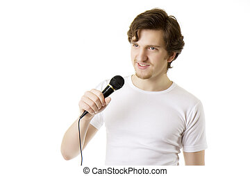 Man who sings in the microphone