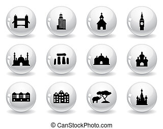 Web buttons, landmark icons