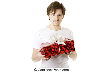 Man who gives the gift in red on a white background