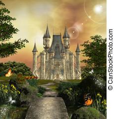 castelo, encantado, jardim