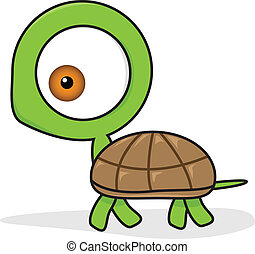 funny turtle cartoon - vector illustration of funny turtle...