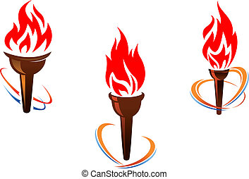 Three torches with fire flames
