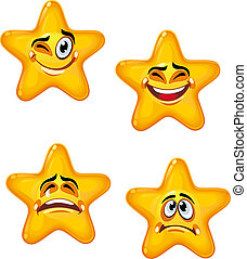 Cartoon stars - Set of glossy cartoon stars with different...