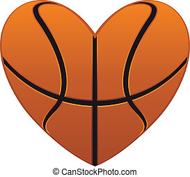 Basketball heart - Realistic basketball heart isolated on...
