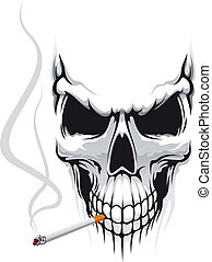 Skull with cigarette - Danger skull smoka a cigarette for...