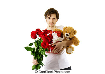 Man who gives bear and a bouquet of roses