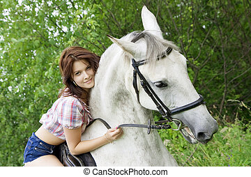 Brunette girl with horse - The image of a beautiful brunette...