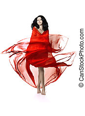 Girl in a red luxury - Images of a beautiful girl in a red...