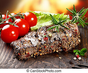 Succulent tender peppered steak - A grilled serving of...