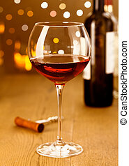 Elegant red wine with grapes
