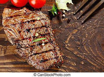 Juicy grilled beef steak - Overhead view of a portion of...