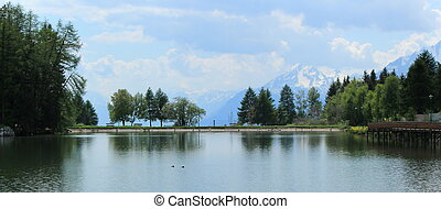 Big lake, Crans Montana, Switzerland - Big lake, trees and...