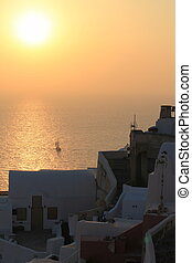 Sunset at Oia, Santorini, Greece