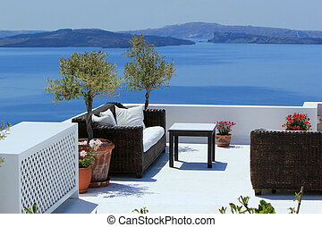 Luxury balcony at Oia, Santorini, Greece - View on the...