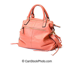 Pink Leather Ladies Handbag on white background